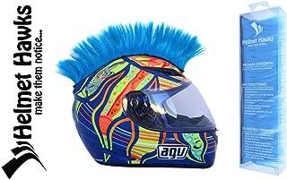 Helmet Hawks- Motorcycle Helmet Mohawk w/Sticky Hook and Loop Fastener Adhesive - Fluorescent Neon Blue
