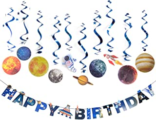 Solar System Hanging Decoration Universe Space Happy Birthday Banner Outer Space Whirls Hanging Swirl for Kids Birthday Solar System Party Supplies, 11 Pcs, SUNBEAUTY