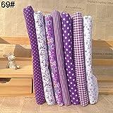 """Bluelans 7pcs 10"""" x 10"""" (25cm x 25cm) Top Cotton Craft Fabric Bundle Squares Patchwork DIY Sewing Scrapbooking Quilting Floral Dot Pattern Purple"""