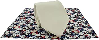 Michelsons of London Mens Plain Tie and Contrast Floral Pocket Square Set - Cream