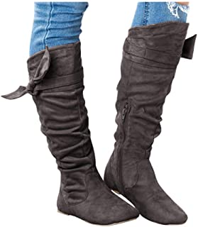 Women's Knee High Boots - Casual Beautiful Knotted Knee-high Long Boots Flat Fall Winter Shoes