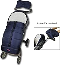 Winter Outdoor Waterproof Baby Infant Universal Stroller Sleeping Bag with Handmuff, Warm Footmuff with Hand Warmer, Adaptable for Most Style Strollers, Comfortable Warm, Height Adjustable