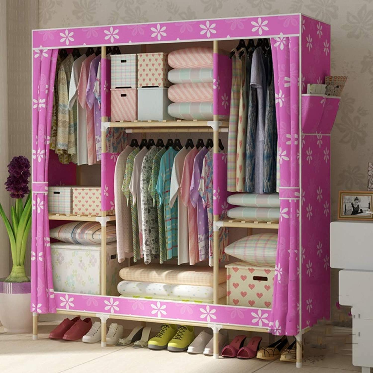 Wardrobe Canvas, Solid wood oxford cloth simple provincial space cloth cabinet closed Dustproof assembly
