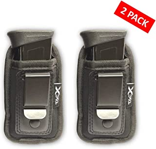 UNIVERSAL IWB Magazine Holster | Inside The Waistband Mag Pouch | Single and Double Stack Magazine Concealment Holder for 9mm/.40/.45/.380 | Pepper Spray, Flashlight, Knife Defense Holster