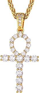 """قلادة الصليب من آيسد أوت ANKH للنساء الرجال مجوهرات دينية لامعة تشيكوسلوفاكيا قلادة مع سلسلة 22 """"+ 2 بوصة ممتدة"""