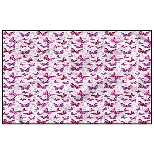 Purple Modern Toilet Carpet Rug Non-Slip Floor Mat Romantic Butterflies Carpet Padding Kids 6.5 x 8 Ft