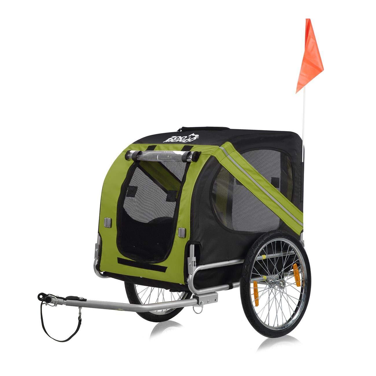zoomundo Remolque Bicicleta Perros Transporte Carro en Verde/Negro ...
