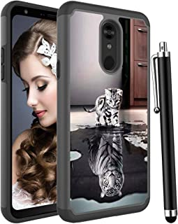 Voanice for LG Stylo 5 Case,Shockproof Hybrid Heavy Duty Armor Women Girls Men Hard Plastic & Soft Silicone Rubber Phone Case Rugged Dual Layer Protective Slim Back Cover for LG Stylo 5 -Cat and Tiger