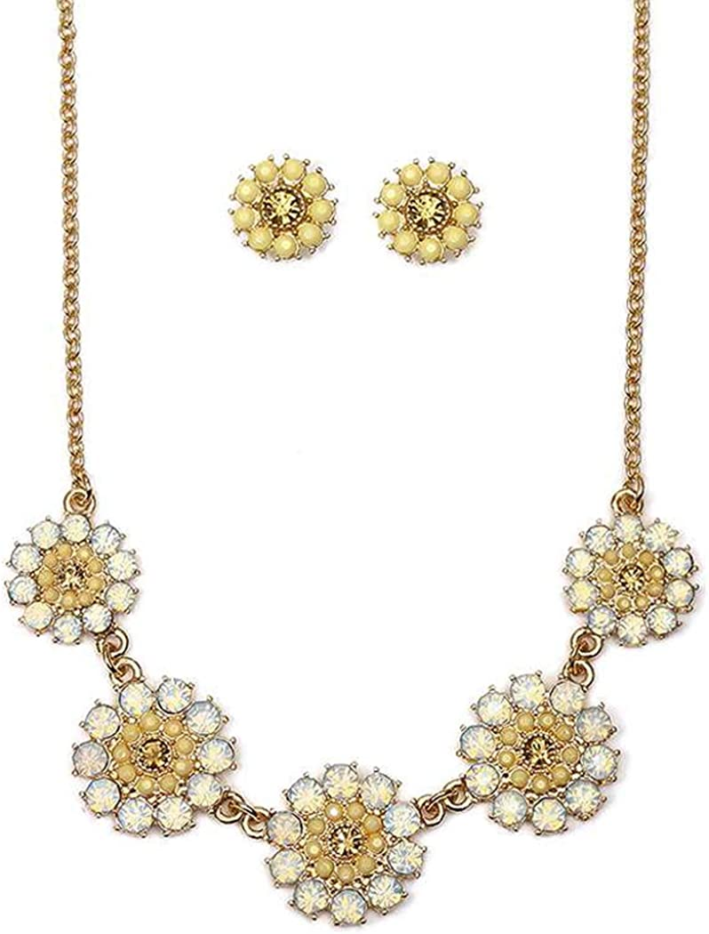 Fashion Jewelry ~ Crystal Link Flower Goldtone Necklace and Earrings Set for Women Teens Girlfriends Birthday Gifts