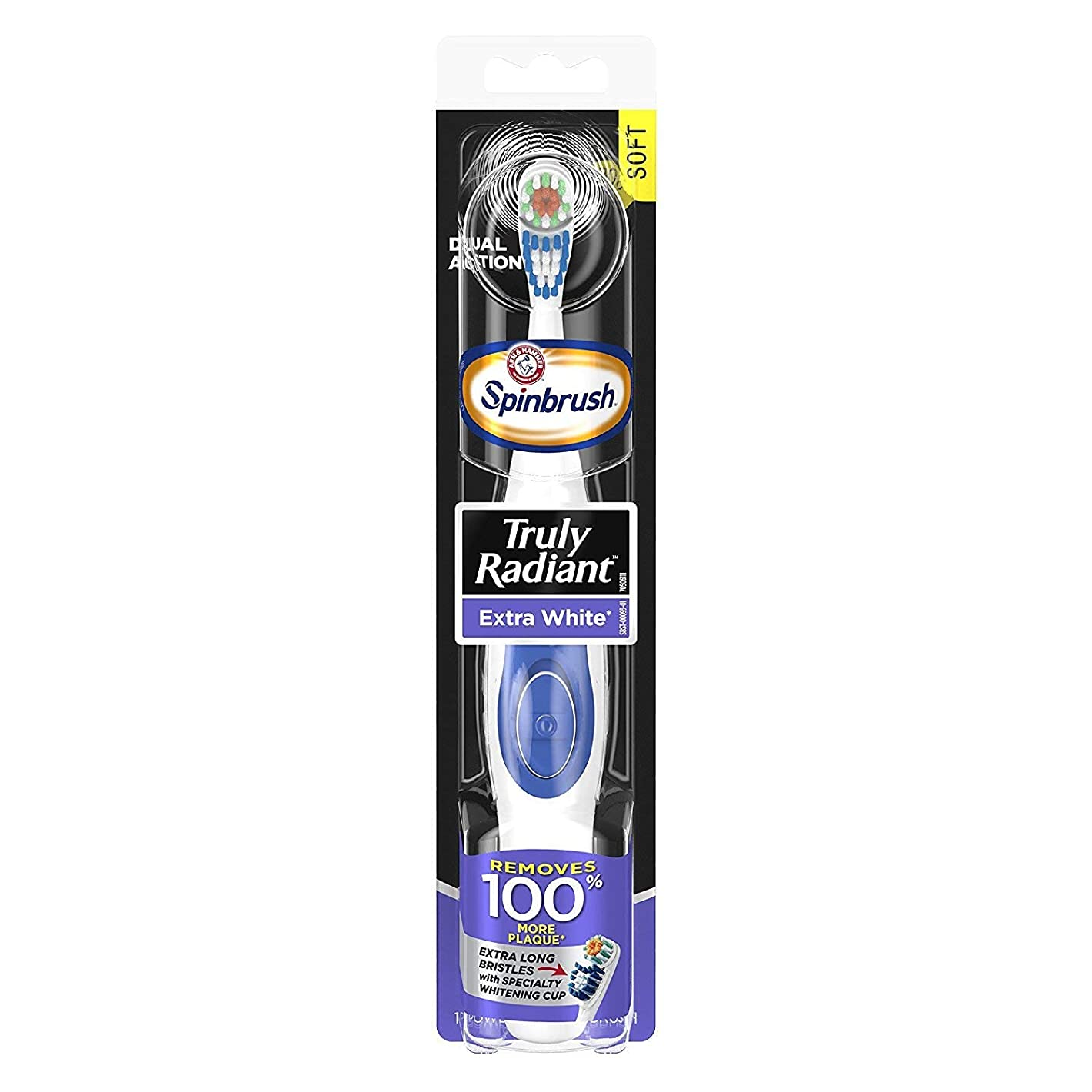 宿題をする水白内障ARM & HAMMER Spinbrush Powered Truly Radiant Toothbrush, Extra White, Soft 1 ea by Arm & Hammer