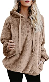 VEZAD Store Women Plus Size Furry Hoodies Long Sleeve Button Outerwear Pullovers Sweatshirt Blouse