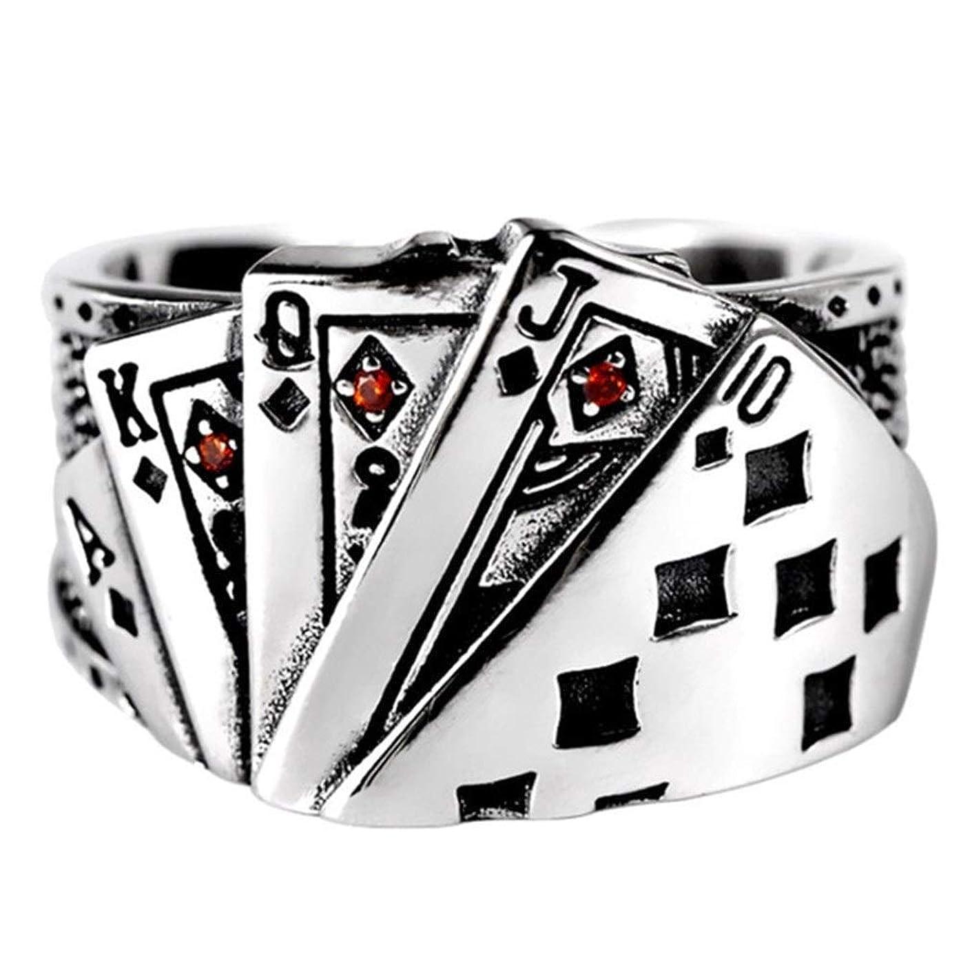 豊富なフライト針JJKEDW ポーカーキュービックジルコニア彫刻アジャスタブル男性アンティークジュエリー (Ring Size : A)