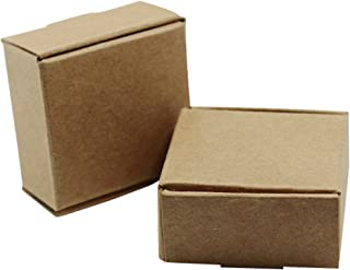 4x4x2 cm Recycled Eco-Friendly Craft Paper Cake Decorative Boxes Kraft Paper Baking Bakery Pastry Storage Box Folding Wedding Birthday Party Favor Home Accent Decor Empty Baskets (50 PCS, Brown)