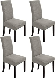 Best NORTHERN BROTHERS Dining Room Chair Slipcovers Dining Chair Covers Parsons Chair Slipcover Stretch Chair Covers for Dining Room Set of 4,Taupe Review