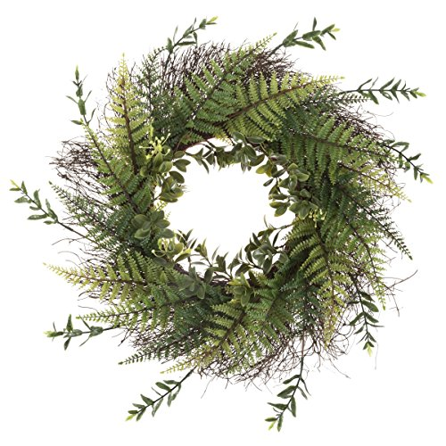 """Pure Garden Artificial Fern Grapevine Base-UV Resistant Greenery Wreath with Blossoms, Slim Profile for Front Door, Wall Decor, 21"""", Green"""