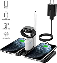 Wireless Charger, QI-EU 4 in 1Dual Fast Charging Station Compatible Apple Watch AirPods Pro iPhone 11/11pro/X/XS/XR/Xs Max/8/8 Plus, Wireless Charger Stand Compatible Samsung Galaxy S20/S10