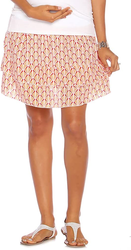 Due Maternity Abigail Pregnancy and Beyond Tiered Skirt - Fuchsi