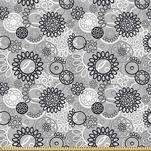 ABAKUHAUS Nero e grigio Tessuto a Metraggio, Scala di grigi Garden Art, Tessuto in Microfibra per Arti e Mestieri, 1M (230x100cm), Nero grigio pallido bianco