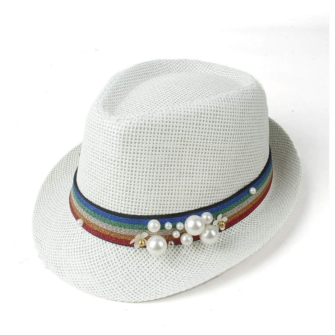 最小故国お気に入りRONGLINGXING 2019 ファッション 夏の女性のわら浜の日曜日の帽子の優雅な女性旅行Fedoraの帽子魅惑的な人 (色 : クリーム, サイズ : 57センチメートル)