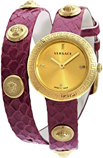 Versace Quartz Diamond Gold Dial Watch VERF01118
