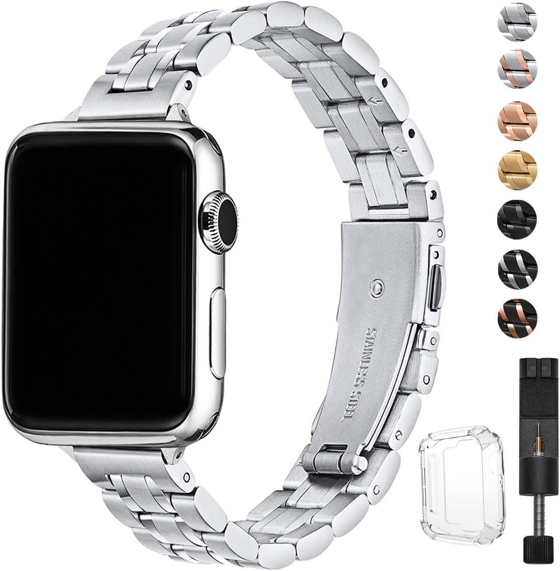HEKAI Bands Compatible with Apple Watch Strap 38mm 42mm 40mm 44mm Metal, Slim Small Adjustable Stainless Steel Replacement Straps for iWatch Series 5/4/3/2/1 (38mm/40mm, Silver)