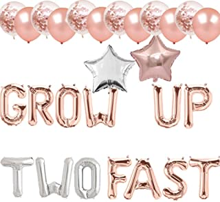 Grow Up Two Fast Balloons Donut Grow Up Banner Donut Second Birthday Party Supplies Decorations Photo Booth Props