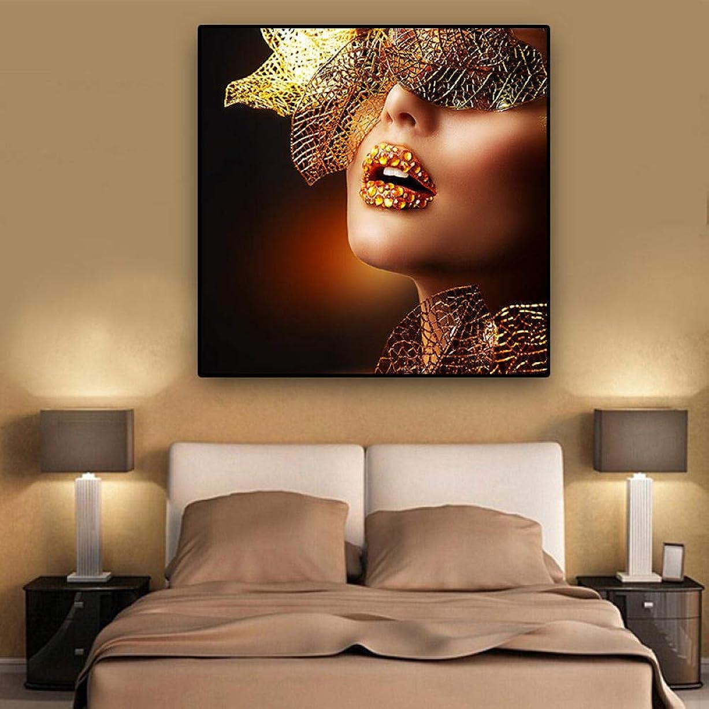 局アリーナそれZesenArtノルディックモダンゴールドリップスファッションセクシーな女性絵画キャンバスポップアートポスターあなたの油絵には無垢材DIYフレームストリップフレーム付き60x60cm