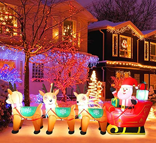 MAOYUE Christmas Inflatables 10ft Christmas Decorations Outdoor Inflatable Christmas Santa Reindeer Blow Up Christmas Decorations Built-in LED Lights with Tethers, Stakes for Outdoor, Yard, Roof, Lawn