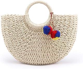 GSERA Handgemachte Taschen Frauen Strand Weben Damen Stroh Tasche Wickelt Strandtasche Mond Geformte Tasche