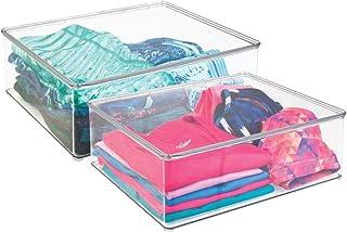 mDesign rangement vêtements (lot de 2) – rangement habits avec couvercle – pour l'armoire – boîte de rangement pour vêteme...