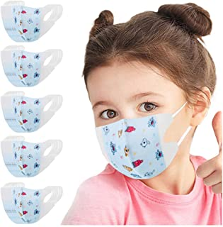 Sugarbig 50PC Disposable Face Guard for Kids Children, Blue Elves Cartoon Pattern Kids Oral Protection Ear Loop Filter Dustproof Facial Protector, High Filtration and Ventilation Security(4-12 Years)