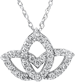 3/8ct Diamond Lotus Flower Pendant 14K White Gold