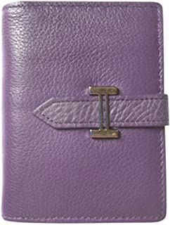 Leather Women's Wallet Leather Card Holder Card Set Fashion Casual Top Layer Leather Ticket Holder Waterproof (Color : Purple, Size : S)