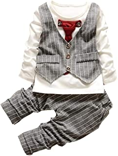 ALLAIBB Baby Boys Long Sleeve Round Neck Top with Plaid Pants Gentleman Suit Outfits