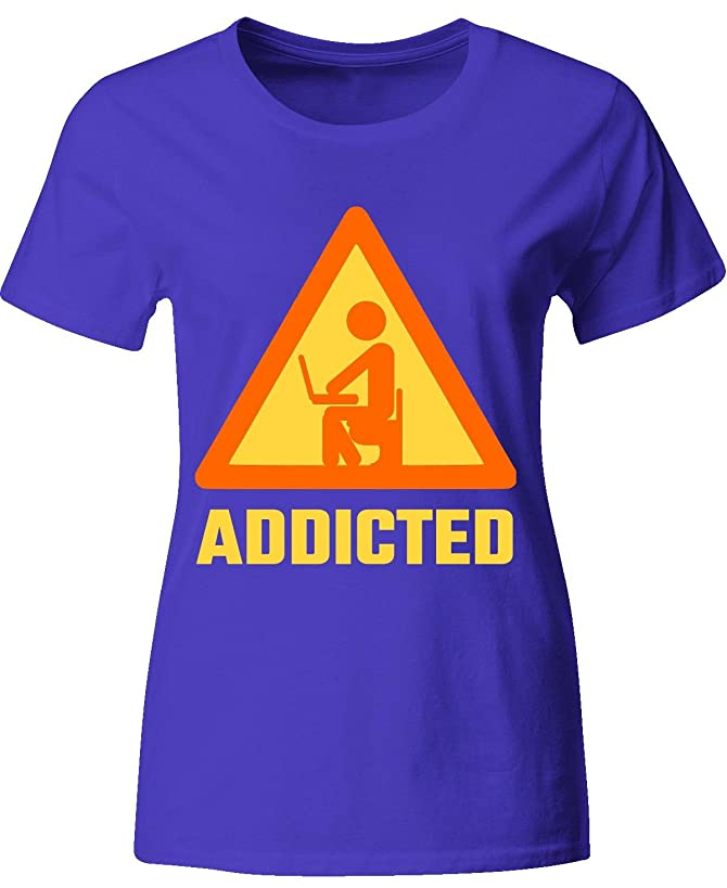 Tees Portals Addicted Computer Gamer Online Office Networking - Ladies T-Shirt