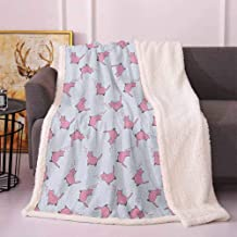 Cat Lover Throws for Couch Romantic Pink Cats in Cartoon Style Drawing with Little Hearts Kitty Whiskers Frozen Blanket Pale Grey Pink 50