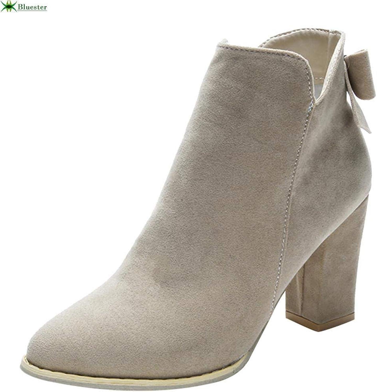 Fuxitoggo Frauen Flcok Ponited Toe Bow Stiefel Stiefeletten High Heels Zipper Martin Schuhe (Farbe   Beige)