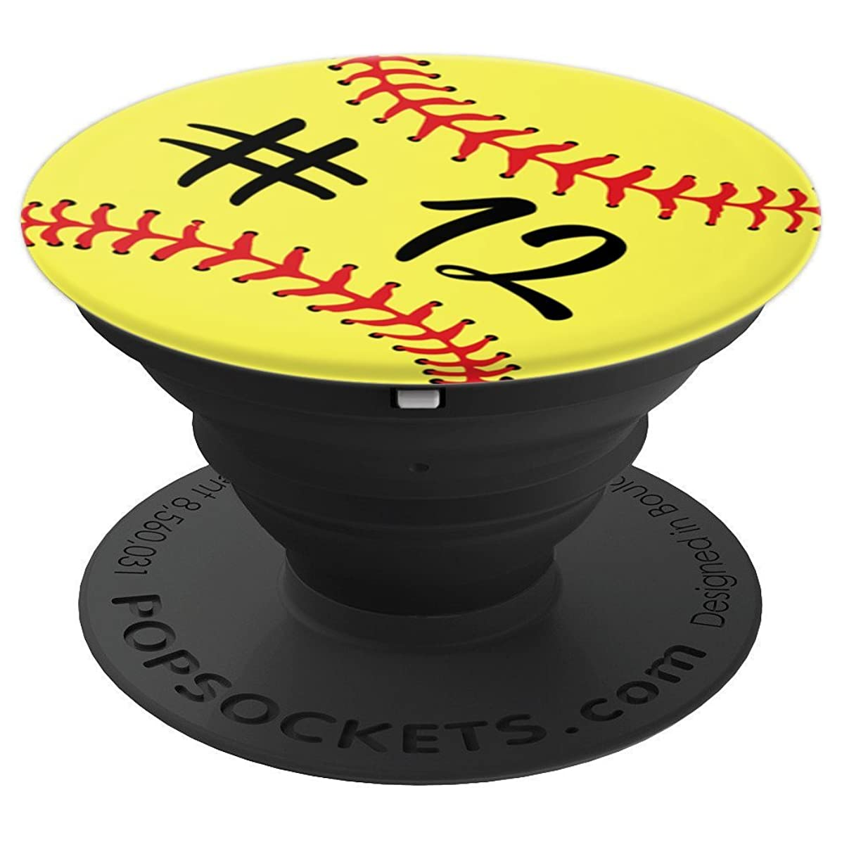 Softball Player #12 Back Jersey No 12 Sports Girl Boy Gift - PopSockets Grip and Stand for Phones and Tablets