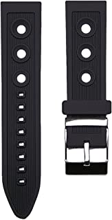 24mm TIMEWHEEL Black Italian Rubber Ocean Racer Rally Watch Band Strap fits Breitling Bentley & More