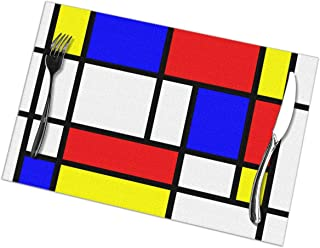 HiExotic Tabliers de Cuisine,Eco-Friendly Mondrian Blocks Apron with Pockets Locked for Cooking Baking Crafting Gardening BBQ 20.5 X 28.3 Inches