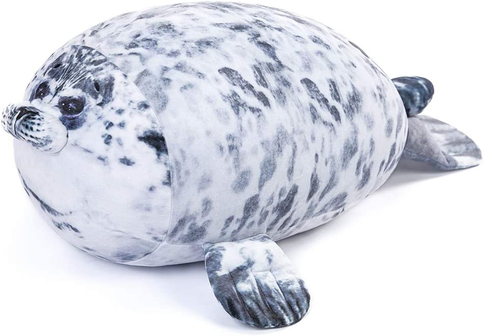 15.7in Tezituor Chubby Blob Seal Pillow Soft Fat Hugging Pillow Stuffed Plush Animal Toy Cute Ocean Pillows Gift