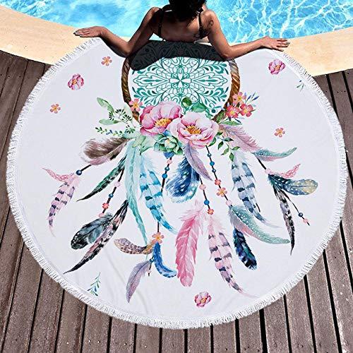 BCDJYFL 3D Print Strandtuch Feather Dream Catcher Microfaser Leicht Kompakt Tragbar Rechteckig Schnelltrocknend Beste Schwimmen Sport Reisen Yoga Badetuch.-Durchmesser: 150Cm