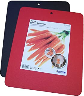 """Linden Sweden Flexible Cutting Board 2-Pack - Lays Flat for Secure Work Surface - Extra-Thick for Durability - BPA-Free and Food-Safe - 14.5 x 11.5"""", Red/Black"""