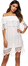 Arctic Cubic Half Sleeve Off The Shoulder Floral Lace Spliced Ruffled Ruffle Hem Mini Swing Trapeze Beach Cover up Dress