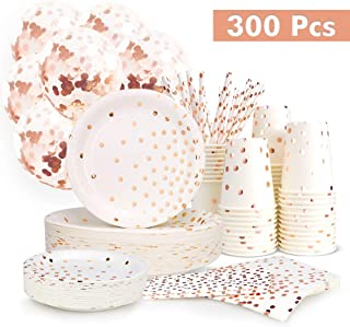 300PCS Rose Gold Paper Party Supplies - Disposable Paper Plates Dinnerware Set Rose Gold Dots 50 Dinner Plates 50 Dessert Plates 50 Cups 50 Napkins 50 Straws 50 Balloons Birthday Party Wedding Holiday