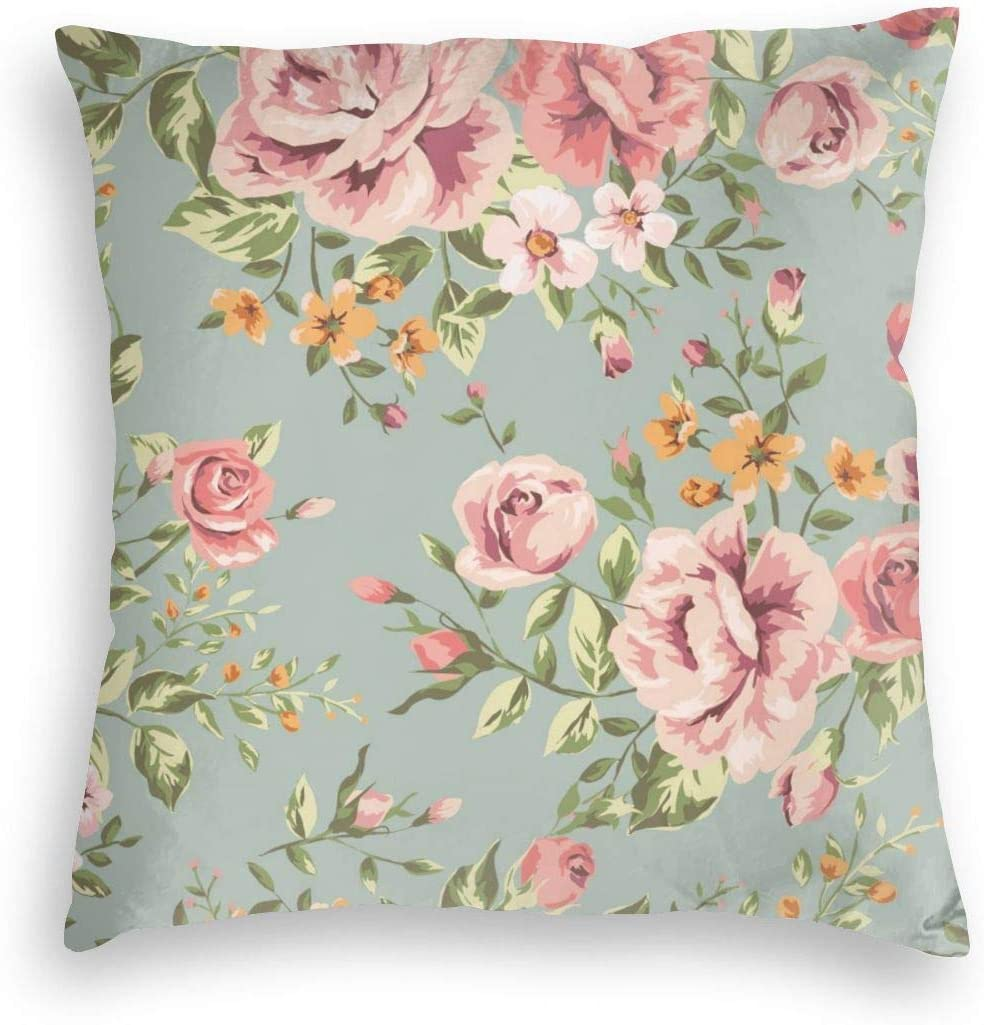 MINIOZE Vintage Shabby Chic Rose Flower Plant Retro Floral Print Velvet Soft Square Pillow Covers case Home Decor Cushion Covers Decorations Gifts Pillowcase for Indoor Sofa Bedroom Car 18 X 18 Inch
