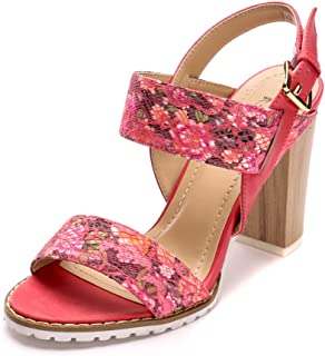 Alexis Leroy Chunky Heel Flower Printed Dainty Buckled Strappy Sandals