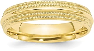 10k Yellow Gold 5mm Double Milgrain Comfort Fit Wedding Ring Band Size 10 Classic Fine Jewelry For Women Gifts For Her