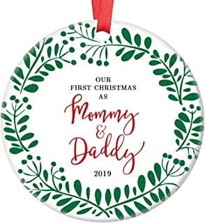 Our First Christmas as Mommy & Daddy 2019 Parents Newborn Son Daughter Ceramic Family Keepsake Present 1st Holiday Mom & Dad Infant Boy Girl 3