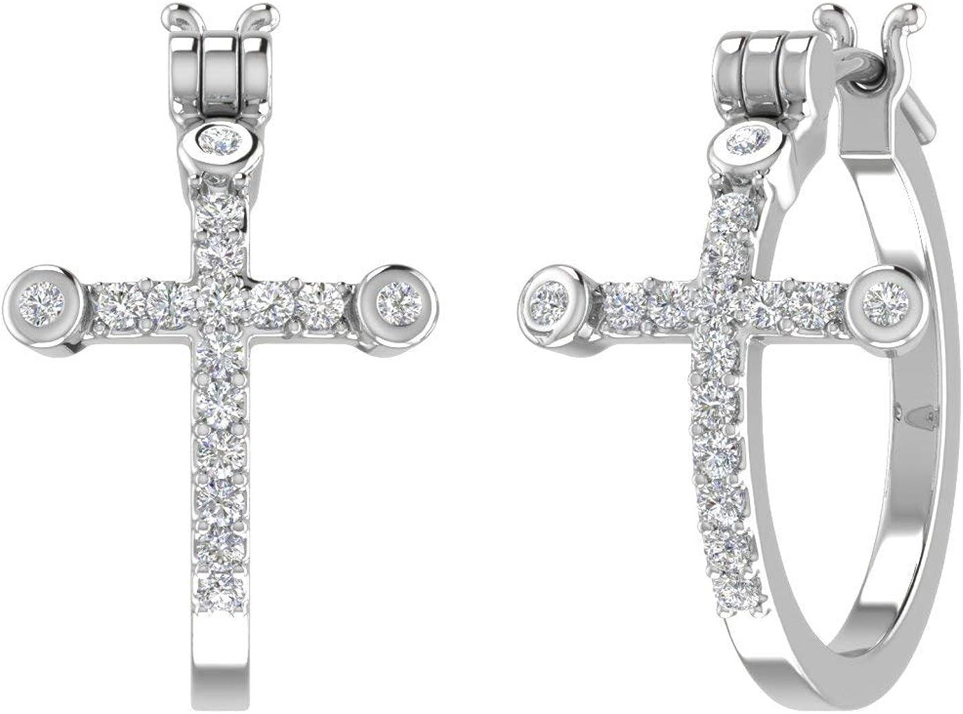 1/4 Carat Diamond Hoop Earrings with Cross Sign in 10K Gold